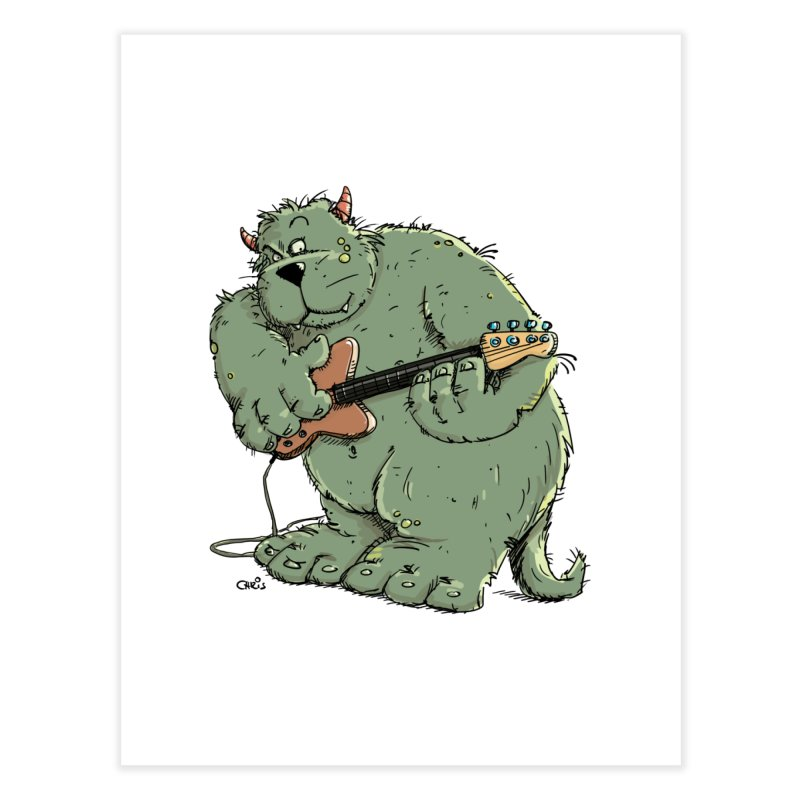 The Bassist is a real Monster Home Fine Art Print by Illustrated Madness