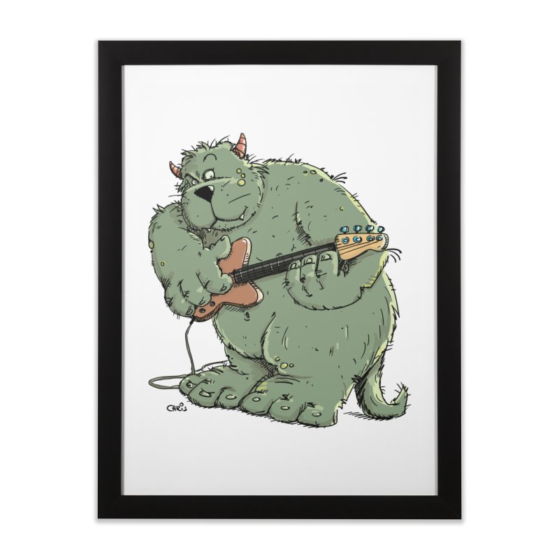 The Bassist is a real Monster Home Framed Fine Art Print by Illustrated Madness