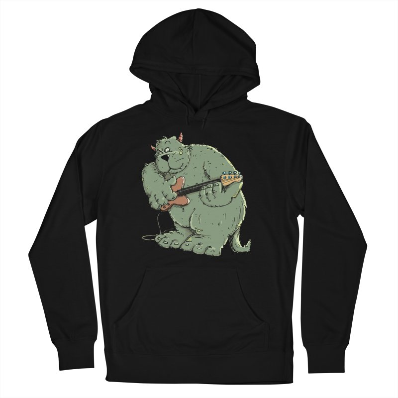 The Bassist is a real Monster in Men's French Terry Pullover Hoody Black by Illustrated Madness