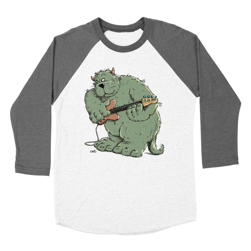 The Bassist is a real Monster Women's Baseball Triblend Longsleeve T-Shirt by Illustrated Madness