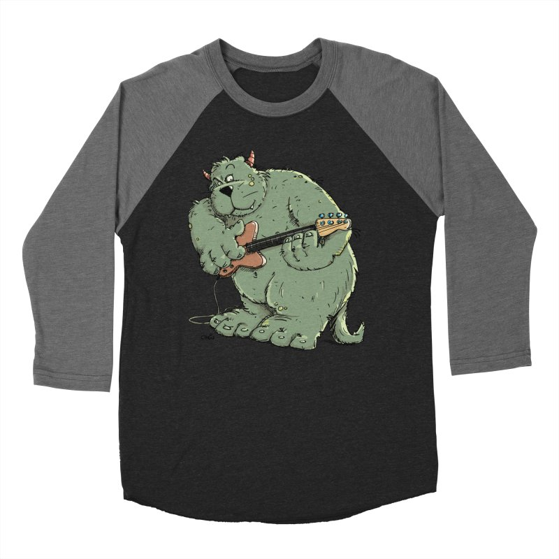 The Bassist is a real Monster Men's Baseball Triblend Longsleeve T-Shirt by Illustrated Madness