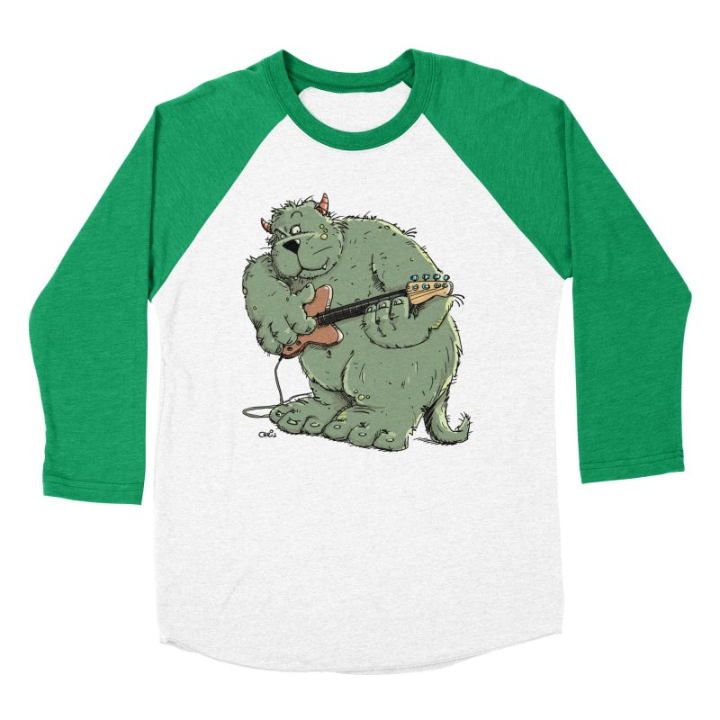 The Bassist is a real Monster Men's Baseball Triblend T-Shirt by Illustrated Madness