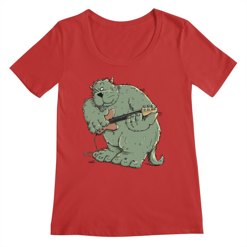 The Bassist is a real Monster Women's Regular Scoop Neck by Illustrated Madness
