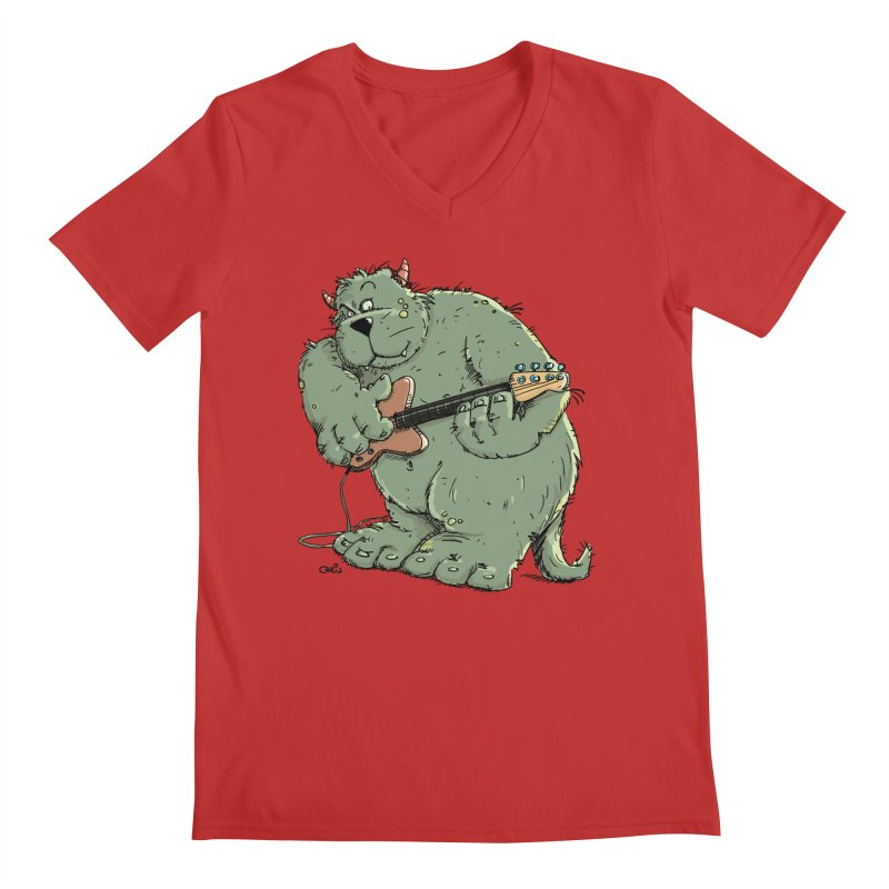 The Bassist is a real Monster Men's Regular V-Neck by Illustrated Madness