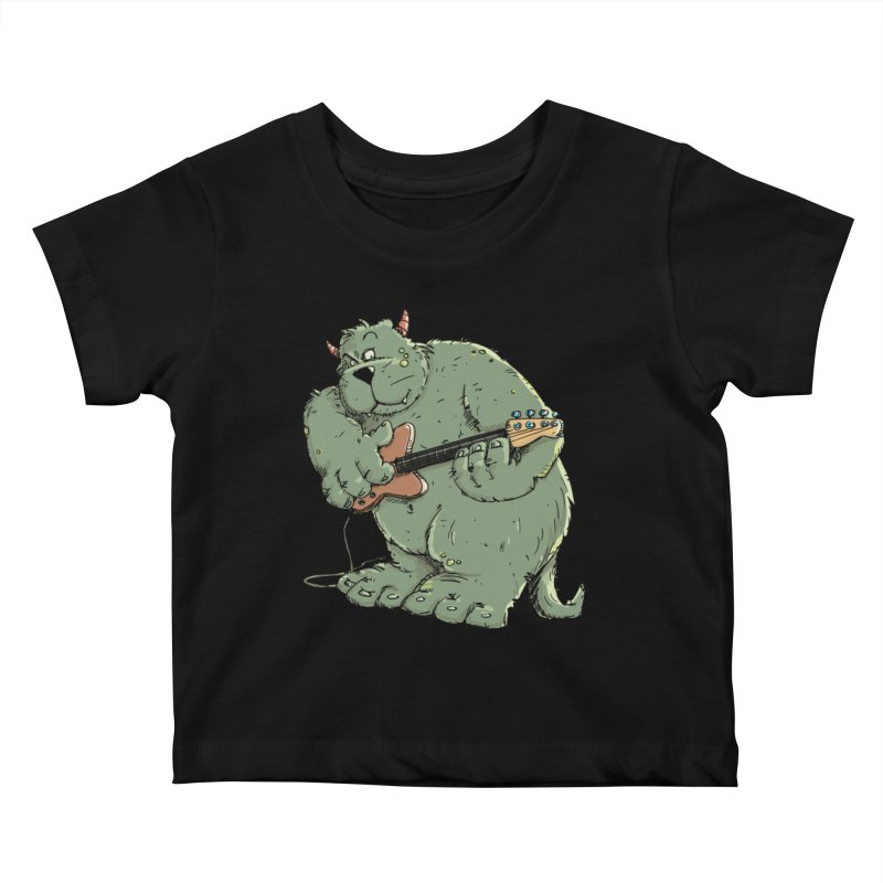 The Bassist is a real Monster Kids Baby T-Shirt by Illustrated Madness