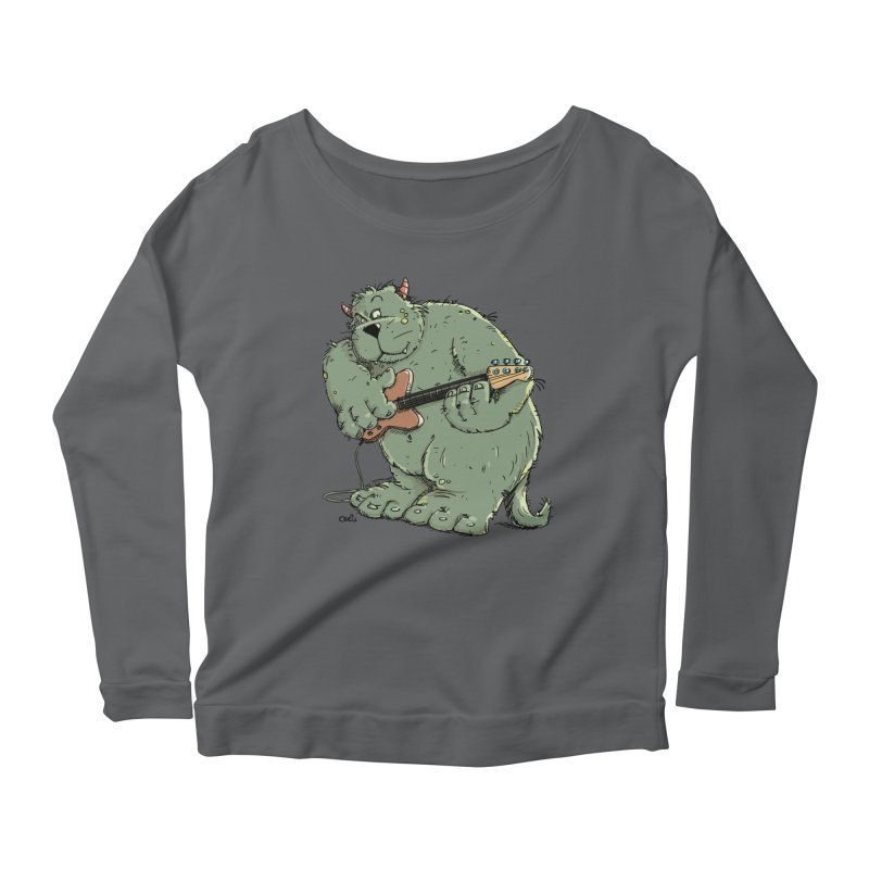 The Bassist is a real Monster Women's Longsleeve Scoopneck  by Illustrated Madness