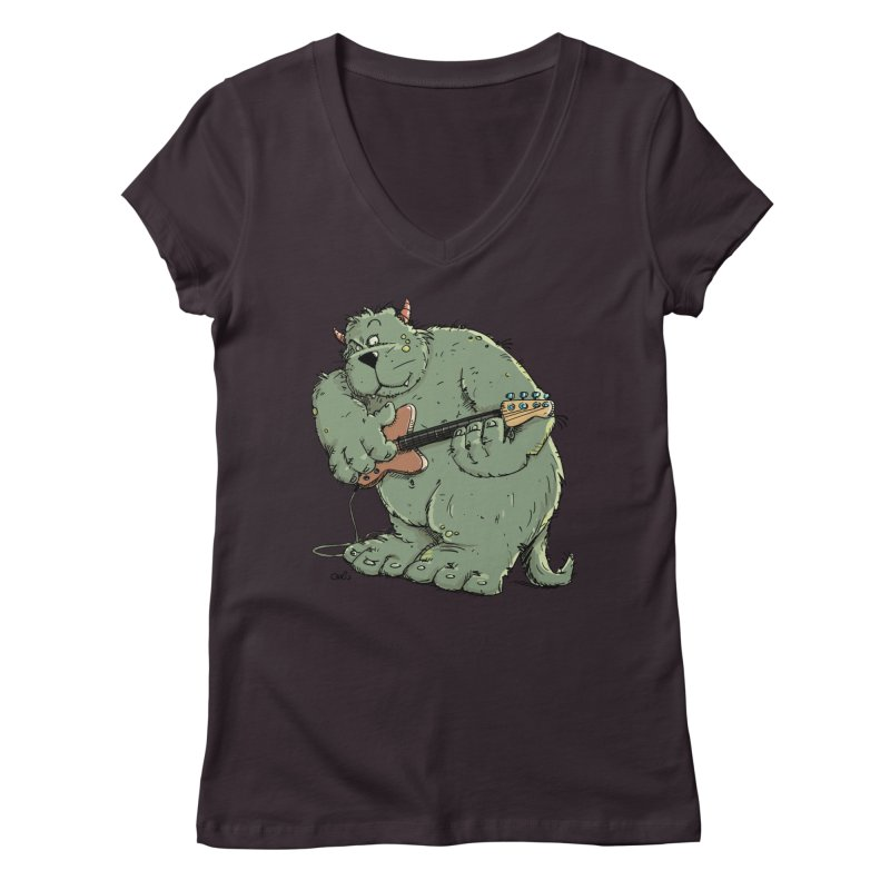 The Bassist is a real Monster Women's V-Neck by Illustrated Madness
