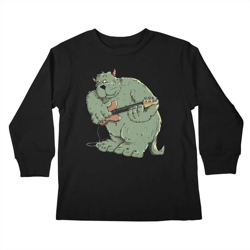 The Bassist is a real Monster Kids Longsleeve T-Shirt by Illustrated Madness