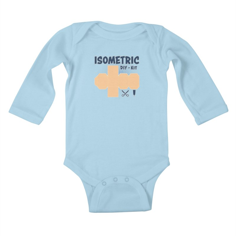 Isometric DIY Kit - Create Your own Dimension Kids Baby Longsleeve Bodysuit by Illustrated Madness