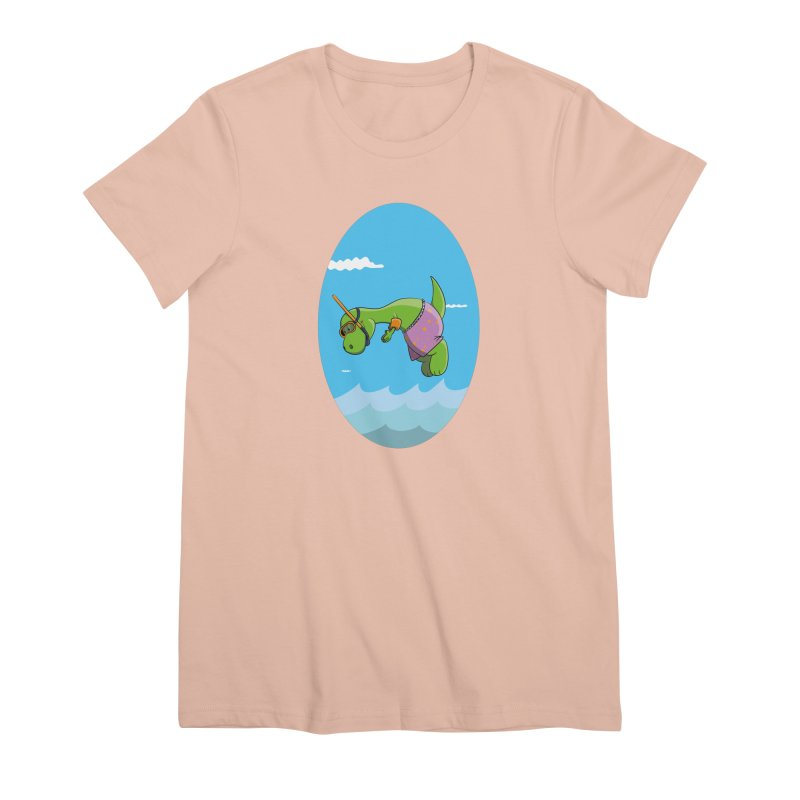 Funny Dinosaur is having a great Day at the Sea Women's Premium T-Shirt by Illustrated Madness