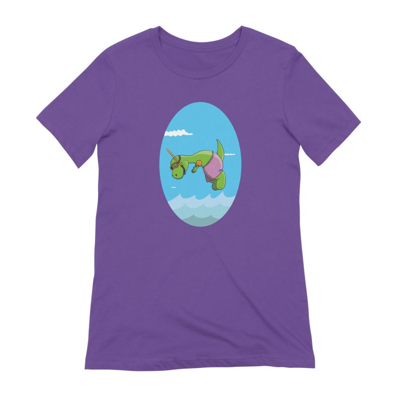 Funny Dinosaur is having a great Day at the Sea Women's Extra Soft T-Shirt by Illustrated Madness