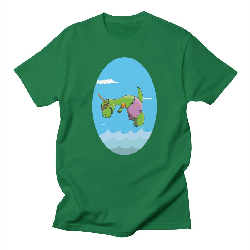 Funny Dinosaur is having a great Day at the Sea Men's T-Shirt by Illustrated Madness