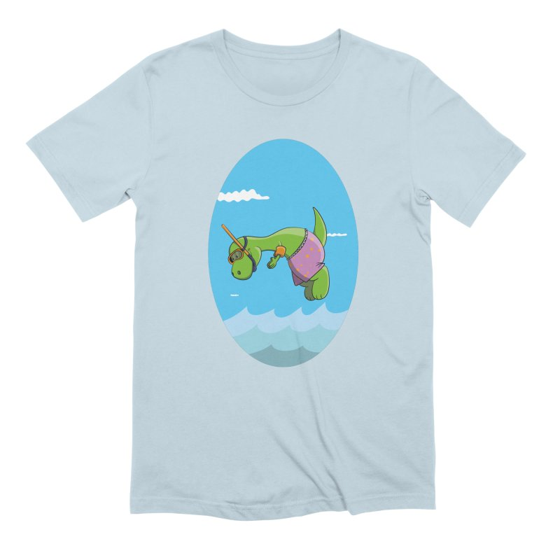 Funny Dinosaur is having a great Day at the Sea Men's Extra Soft T-Shirt by Illustrated Madness