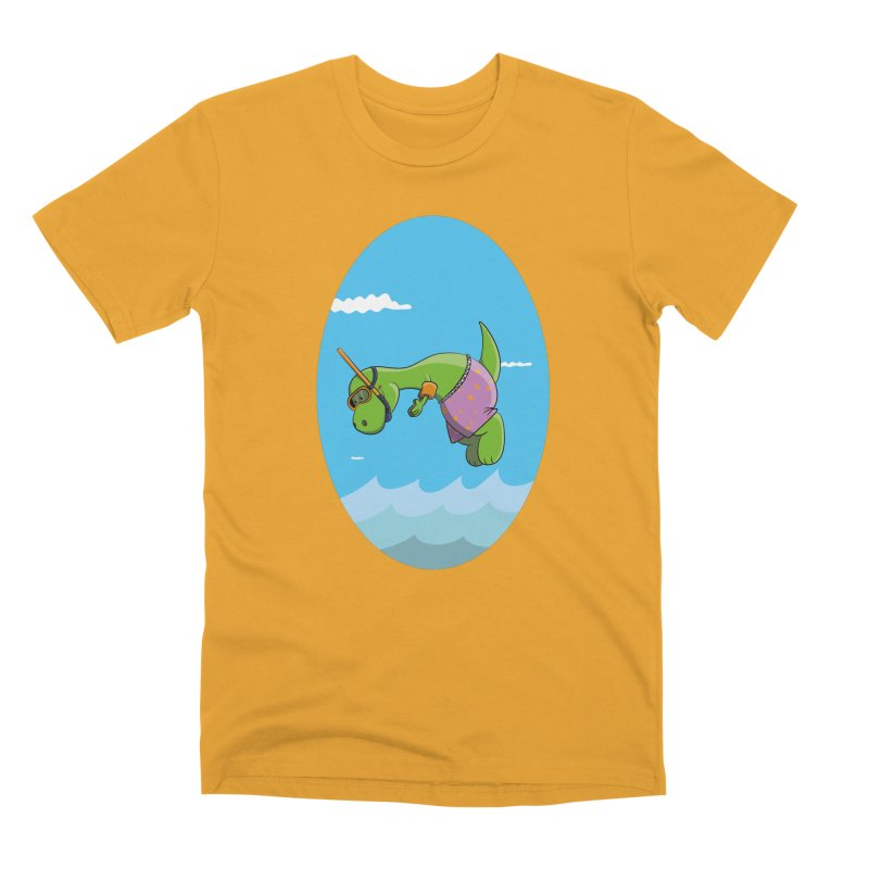 Funny Dinosaur is having a great Day at the Sea Men's Premium T-Shirt by Illustrated Madness