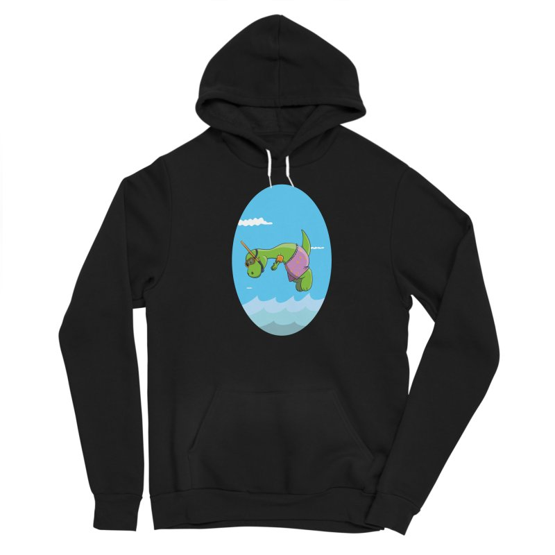 Funny Dinosaur is having a great Day at the Sea Women's Sponge Fleece Pullover Hoody by Illustrated Madness