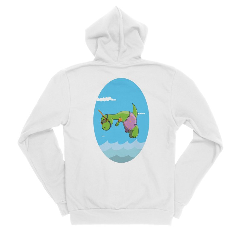 Funny Dinosaur is having a great Day at the Sea Men's Sponge Fleece Zip-Up Hoody by Illustrated Madness