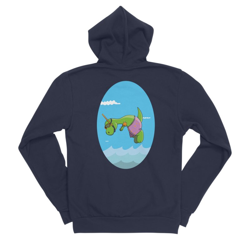 Funny Dinosaur is having a great Day at the Sea Women's Sponge Fleece Zip-Up Hoody by Illustrated Madness