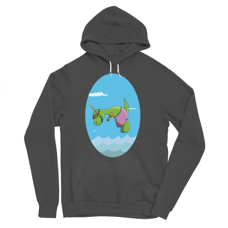 Funny Dinosaur is having a great Day at the Sea Men's Sponge Fleece Pullover Hoody by Illustrated Madness