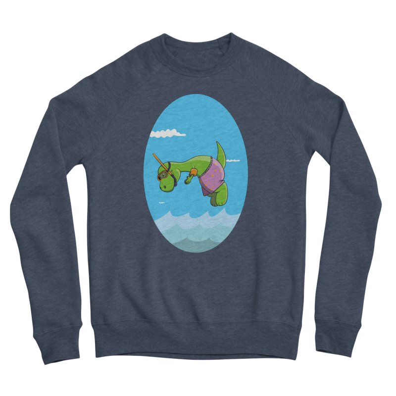 Funny Dinosaur is having a great Day at the Sea Women's Sponge Fleece Sweatshirt by Illustrated Madness