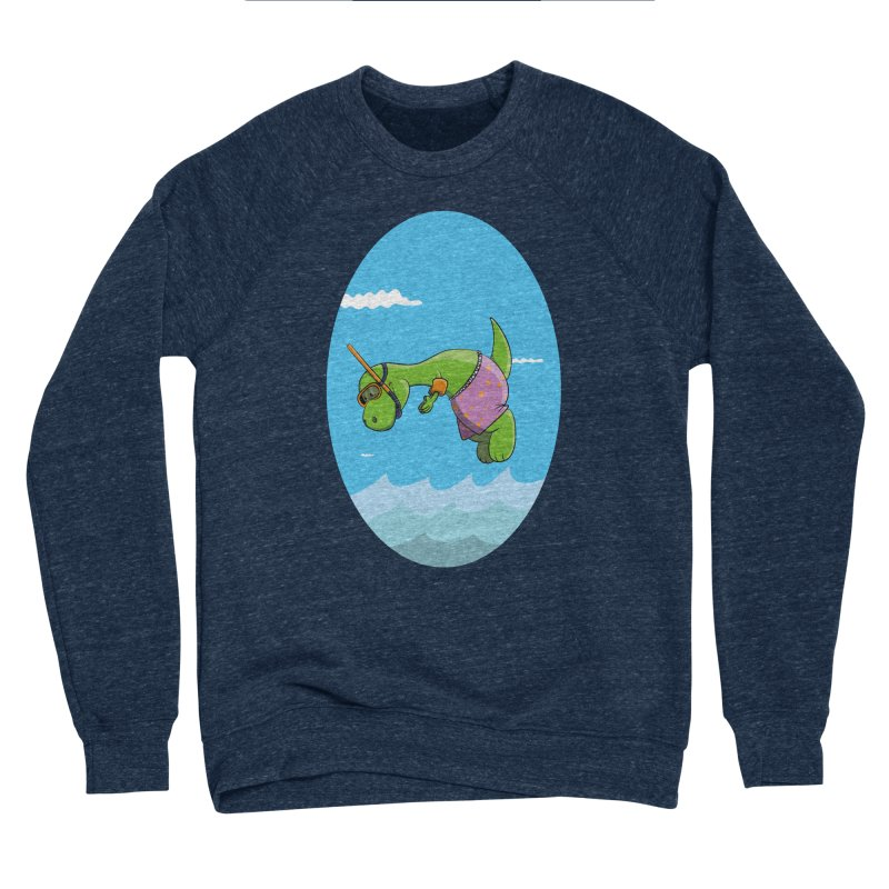 Funny Dinosaur is having a great Day at the Sea Men's Sponge Fleece Sweatshirt by Illustrated Madness