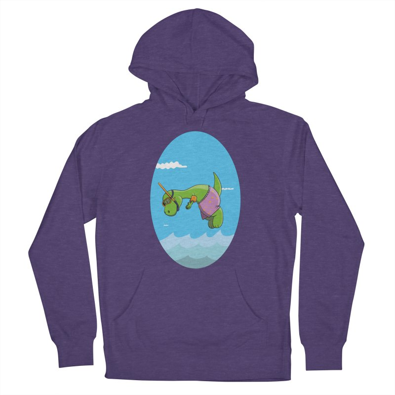 Funny Dinosaur is having a great Day at the Sea Men's Pullover Hoody by Illustrated Madness