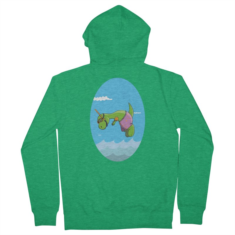 Funny Dinosaur is having a great Day at the Sea Women's Zip-Up Hoody by Illustrated Madness