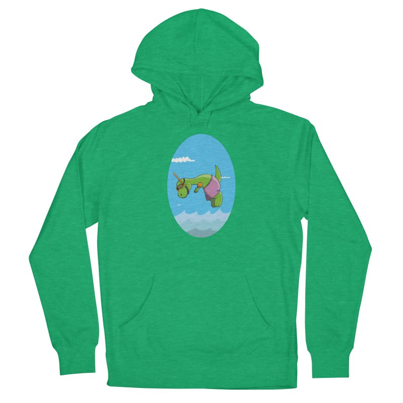 Funny Dinosaur is having a great Day at the Sea Women's Pullover Hoody by Illustrated Madness