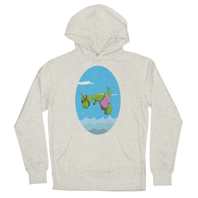 Funny Dinosaur is having a great Day at the Sea Women's French Terry Pullover Hoody by Illustrated Madness