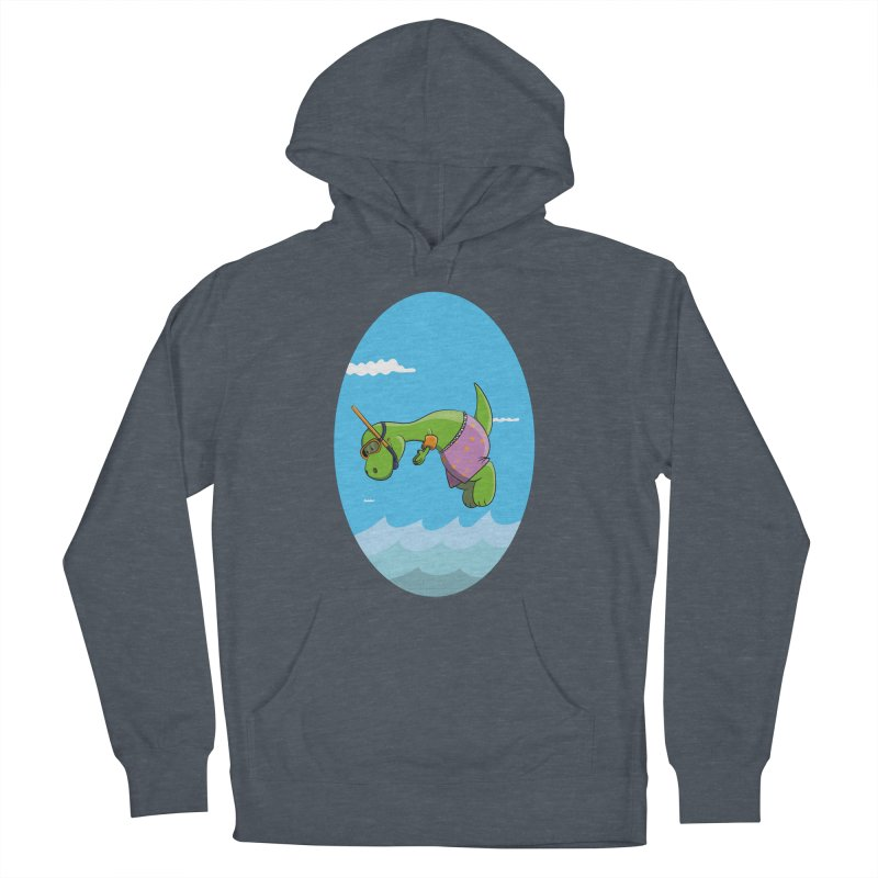 Funny Dinosaur is having a great Day at the Sea Men's French Terry Pullover Hoody by Illustrated Madness
