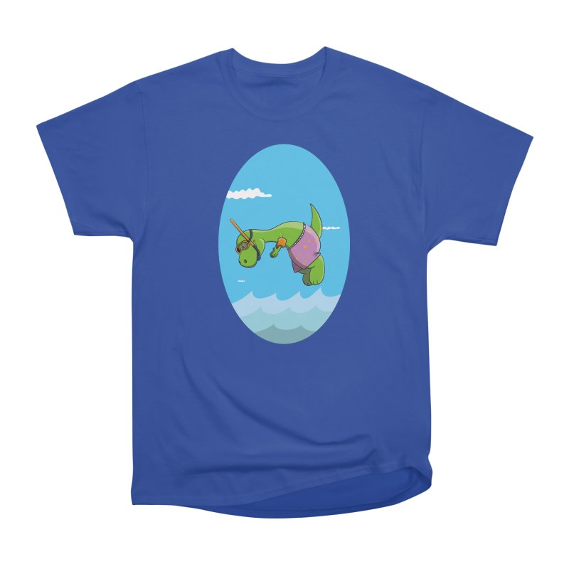 Funny Dinosaur is having a great Day at the Sea Women's Heavyweight Unisex T-Shirt by Illustrated Madness