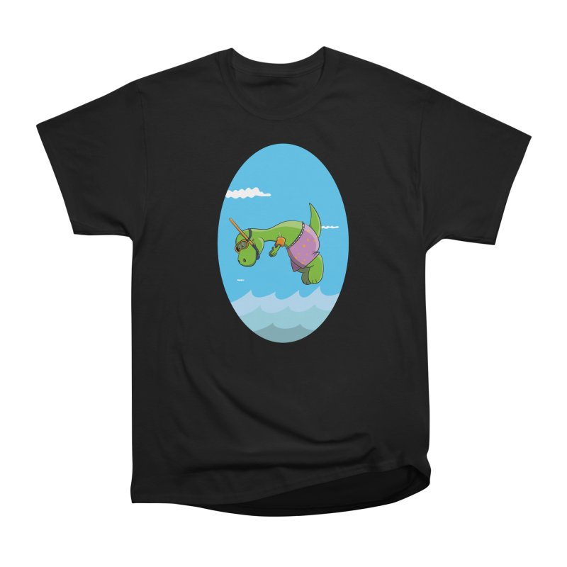 Funny Dinosaur is having a great Day at the Sea Men's Heavyweight T-Shirt by Illustrated Madness