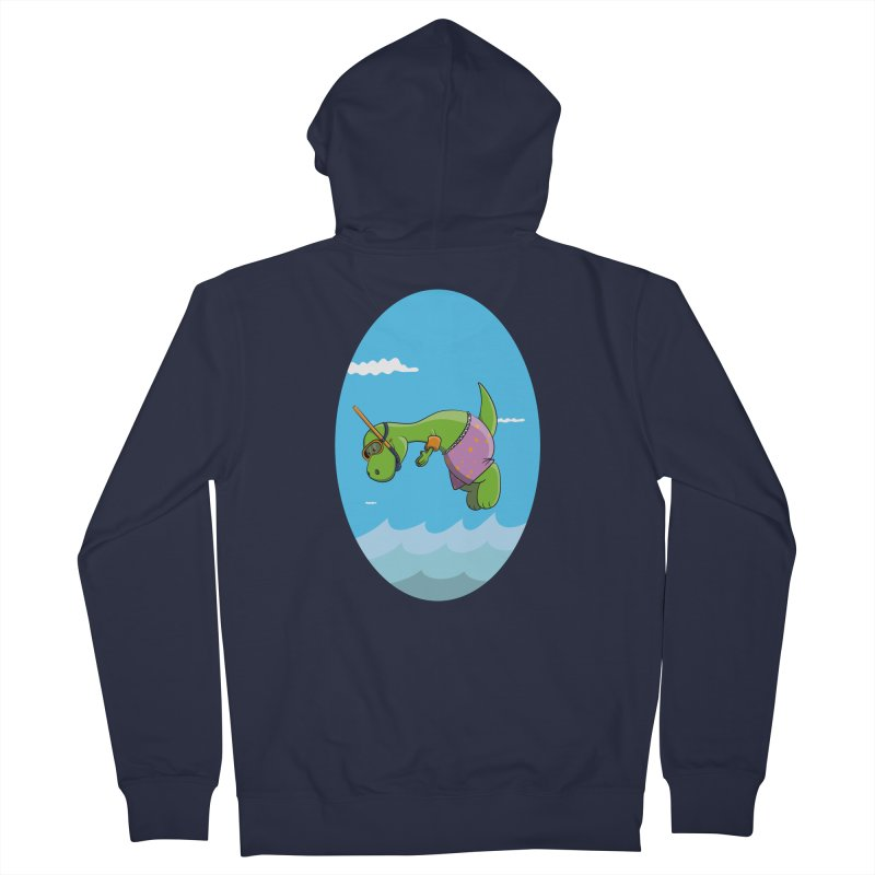 Funny Dinosaur is having a great Day at the Sea Women's French Terry Zip-Up Hoody by Illustrated Madness