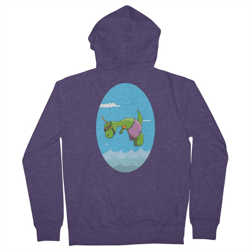 Funny Dinosaur is having a great Day at the Sea Men's French Terry Zip-Up Hoody by Illustrated Madness