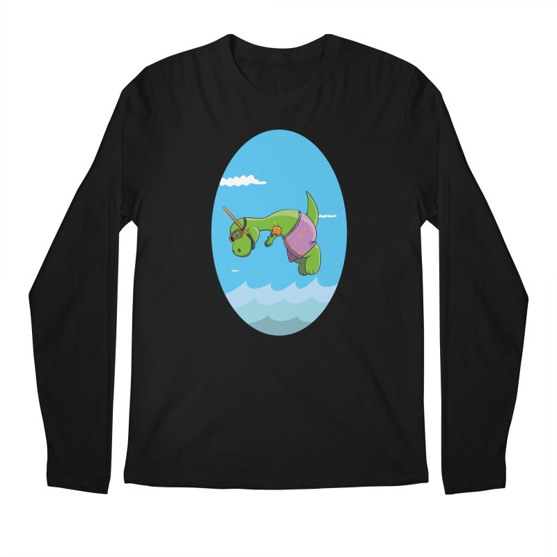 Funny Dinosaur is having a great Day at the Sea Men's Longsleeve T-Shirt by Illustrated Madness