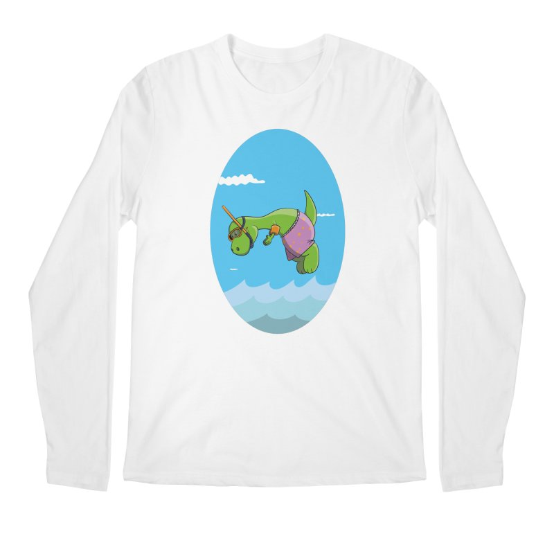 Funny Dinosaur is having a great Day at the Sea Men's Regular Longsleeve T-Shirt by Illustrated Madness