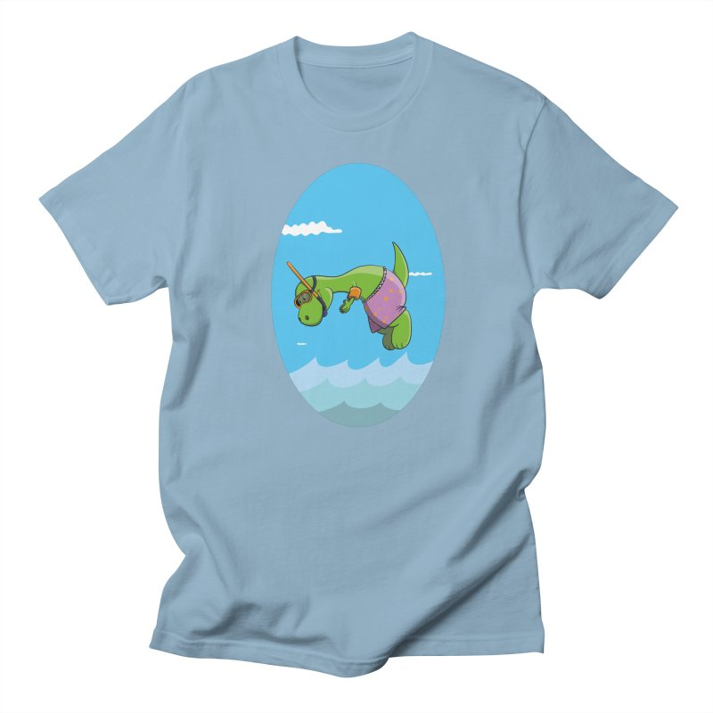 Funny Dinosaur is having a great Day at the Sea Women's T-Shirt by Illustrated Madness