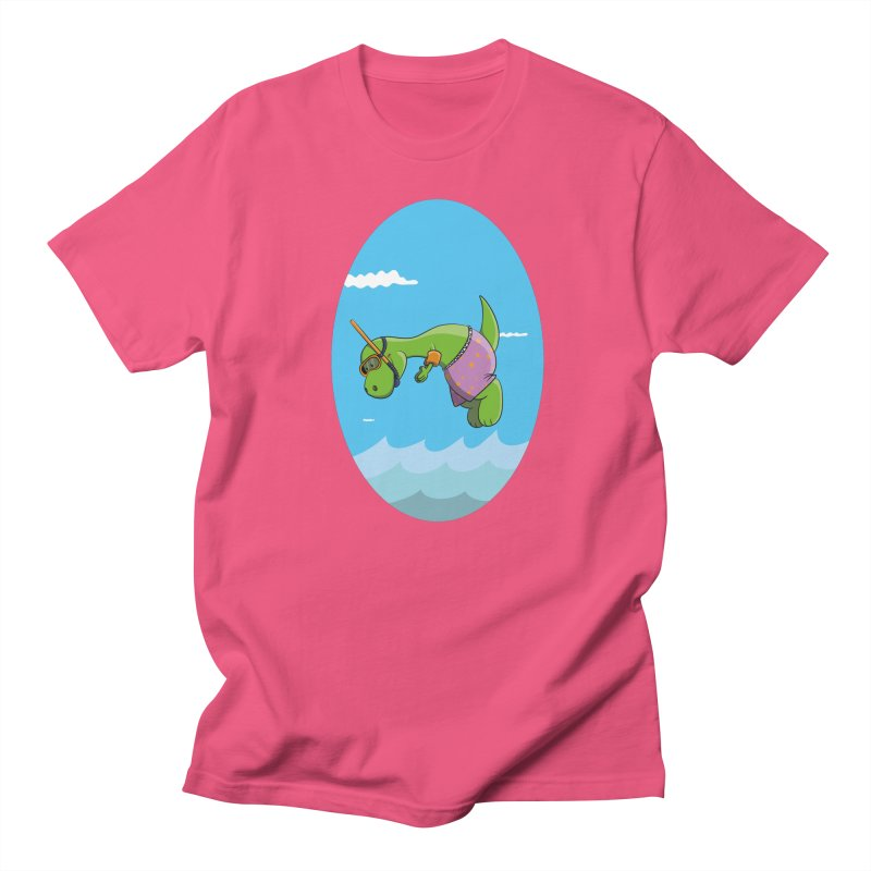 Funny Dinosaur is having a great Day at the Sea Women's Regular Unisex T-Shirt by Illustrated Madness