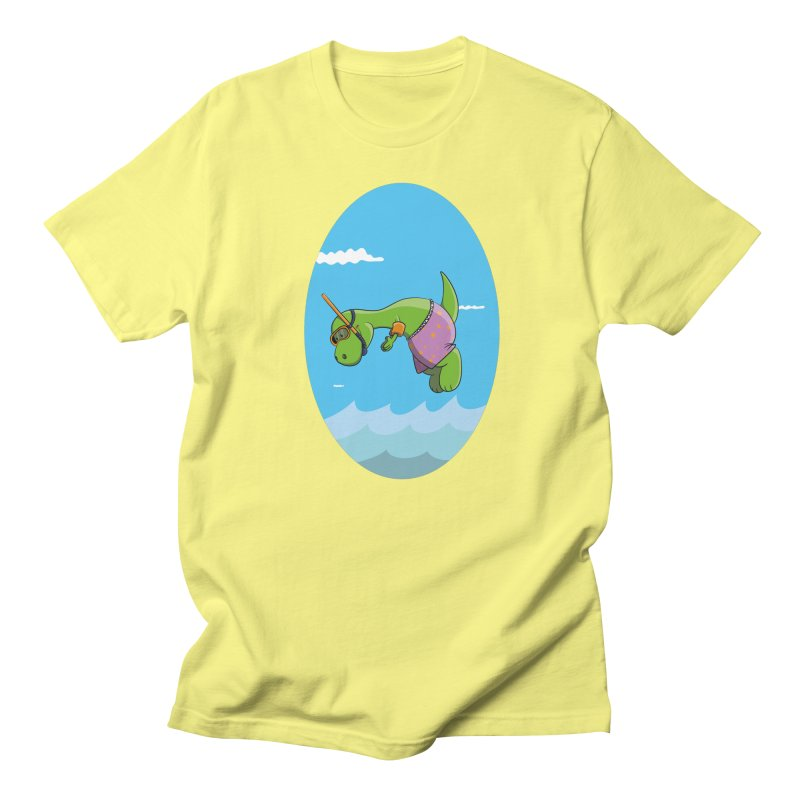 Funny Dinosaur is having a great Day at the Sea Men's Regular T-Shirt by Illustrated Madness