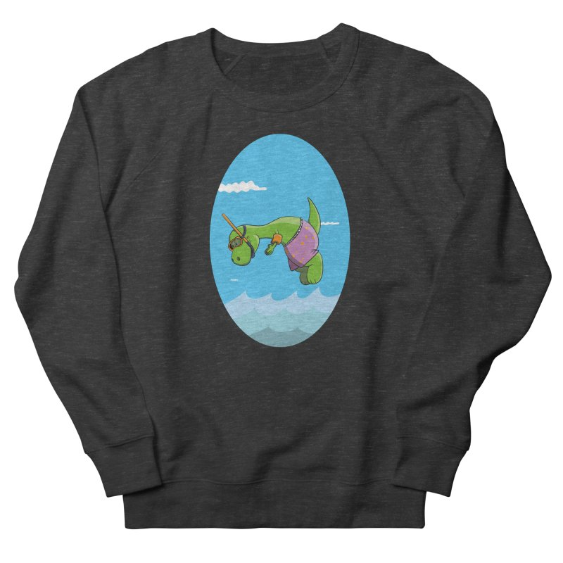 Funny Dinosaur is having a great Day at the Sea Women's Sweatshirt by Illustrated Madness