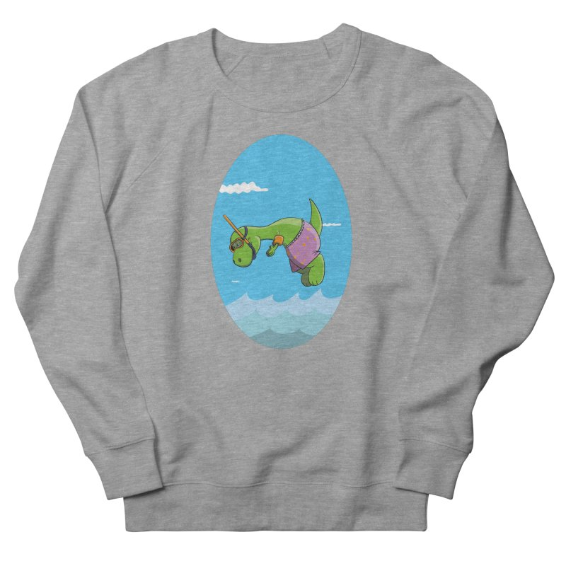 Funny Dinosaur is having a great Day at the Sea Women's French Terry Sweatshirt by Illustrated Madness