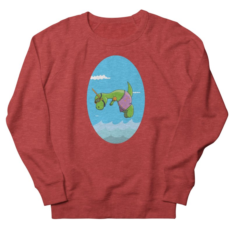 Funny Dinosaur is having a great Day at the Sea Men's Sweatshirt by Illustrated Madness