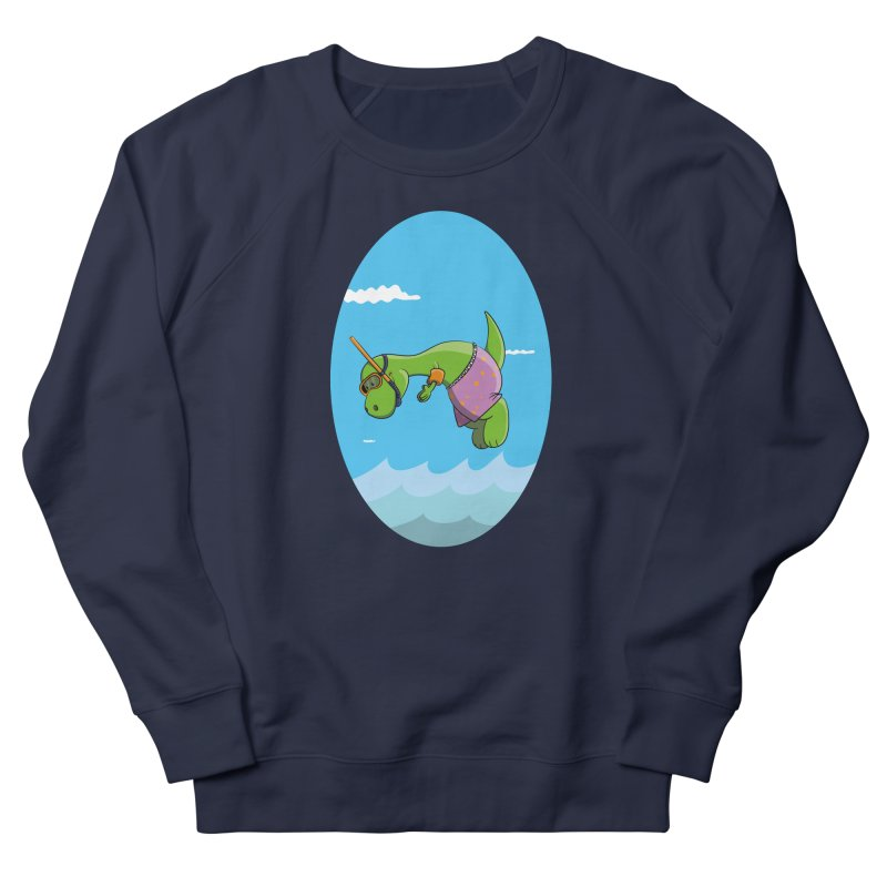 Funny Dinosaur is having a great Day at the Sea Men's French Terry Sweatshirt by Illustrated Madness