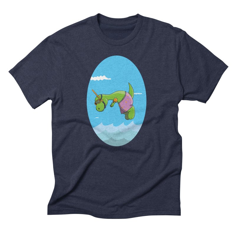 Funny Dinosaur is having a great Day at the Sea Men's Triblend T-Shirt by Illustrated Madness