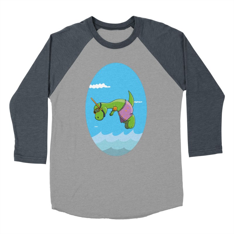 Funny Dinosaur is having a great Day at the Sea Women's Baseball Triblend Longsleeve T-Shirt by Illustrated Madness