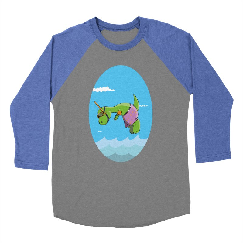 Funny Dinosaur is having a great Day at the Sea Men's Baseball Triblend Longsleeve T-Shirt by Illustrated Madness