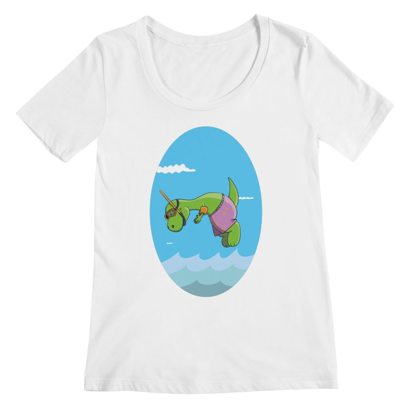 Funny Dinosaur is having a great Day at the Sea Women's Regular Scoop Neck by Illustrated Madness