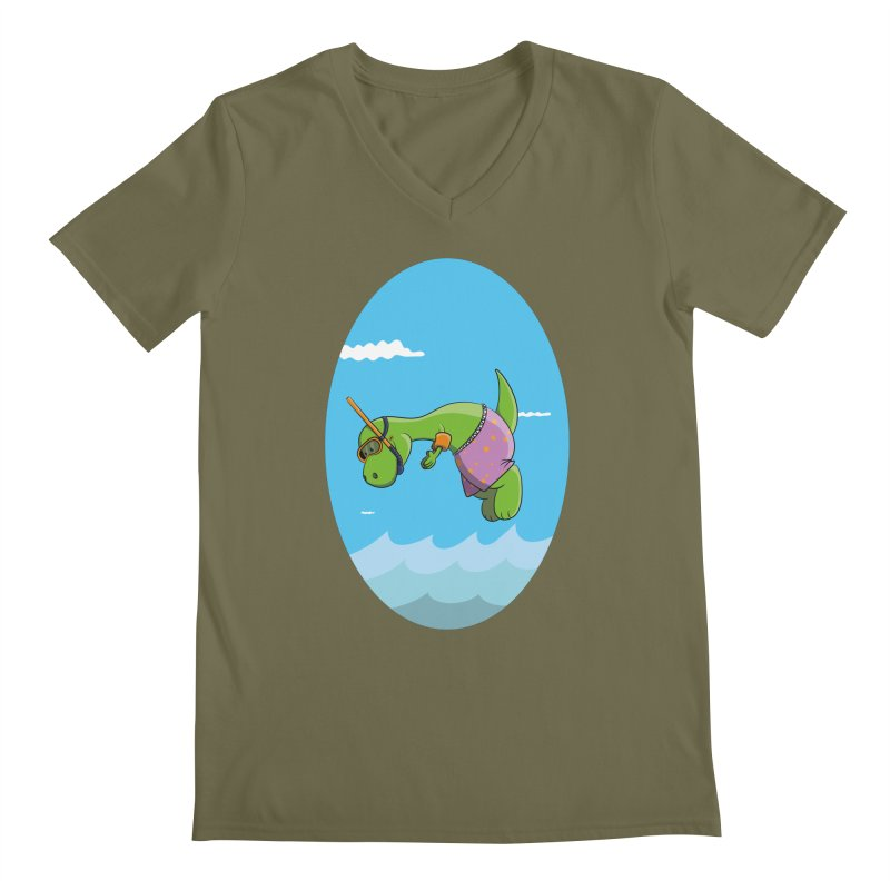 Funny Dinosaur is having a great Day at the Sea Men's V-Neck by Illustrated Madness