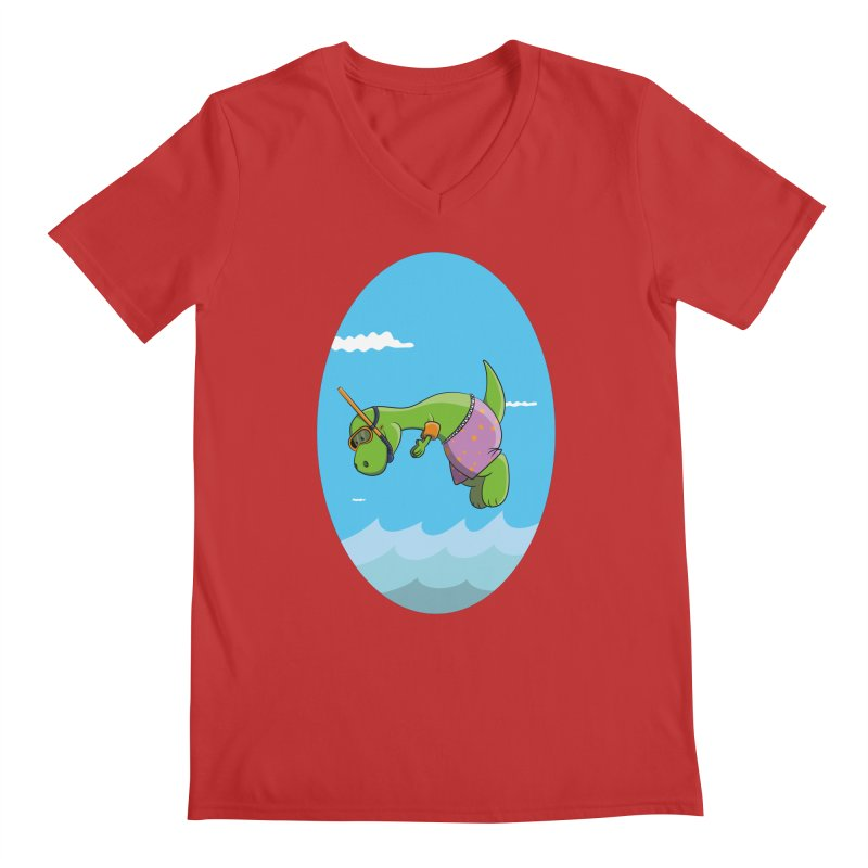 Funny Dinosaur is having a great Day at the Sea Men's Regular V-Neck by Illustrated Madness