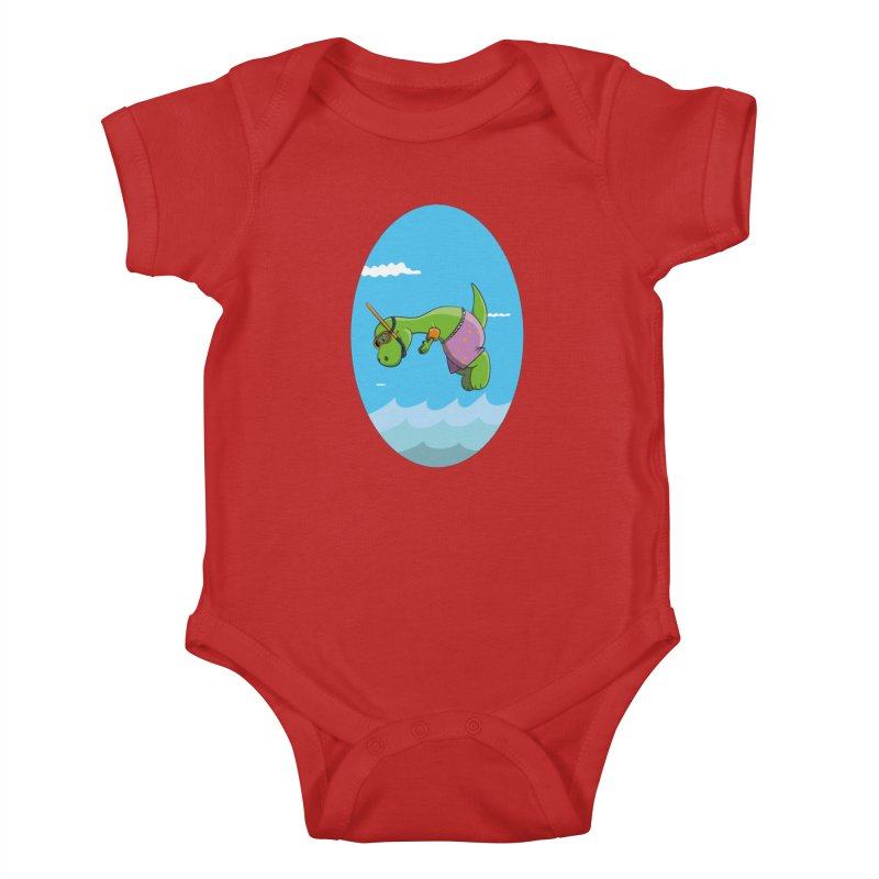 Funny Dinosaur is having a great Day at the Sea Kids Baby Bodysuit by Illustrated Madness