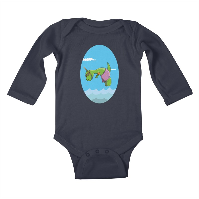 Funny Dinosaur is having a great Day at the Sea Kids Baby Longsleeve Bodysuit by Illustrated Madness